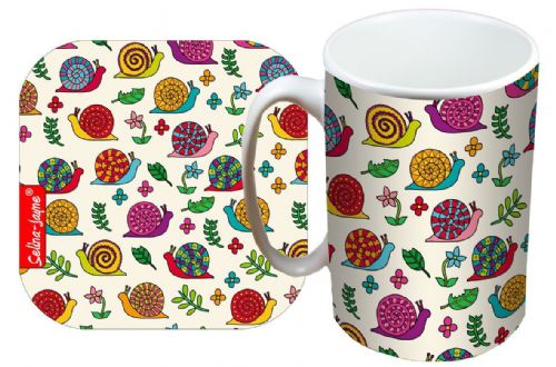 Selina-Jayne Snails Limited Edition Designer Mug and Coaster Set
